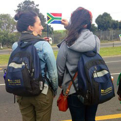 Global Activities Scholars Sam Giacobozzi and Janelle Fa'Aola in Cape Town, South Africa