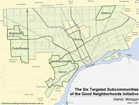 The six targeted subcommunities of the Good Neighborhoods Initiative