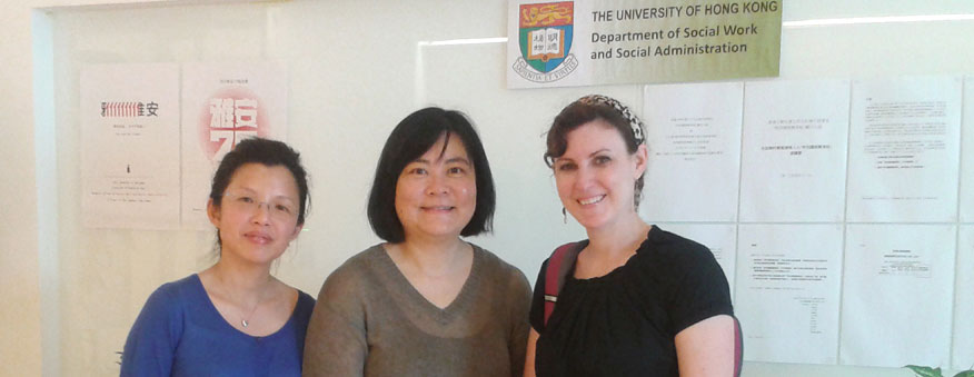 Global field placement student Erin Elly with social work staff from the University of Hong Kong