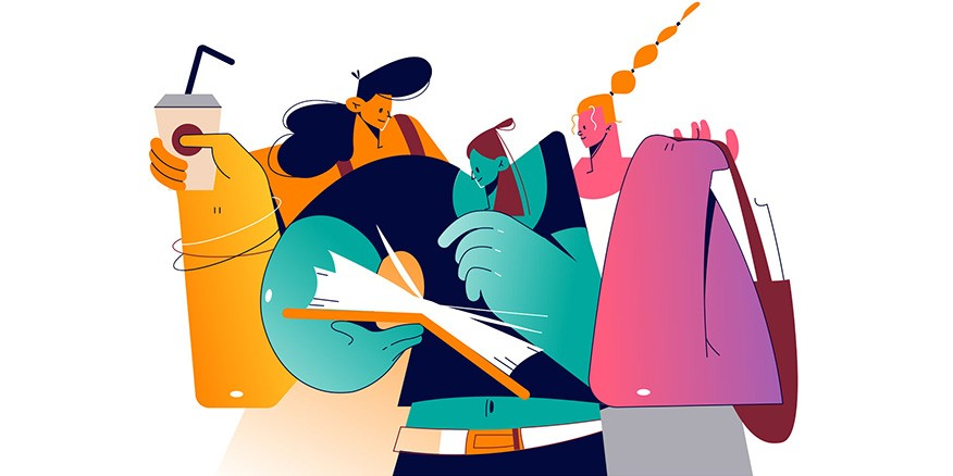 ho is yellow holding a coffee, one blue who is pointing at a book, one pink holding a bag.