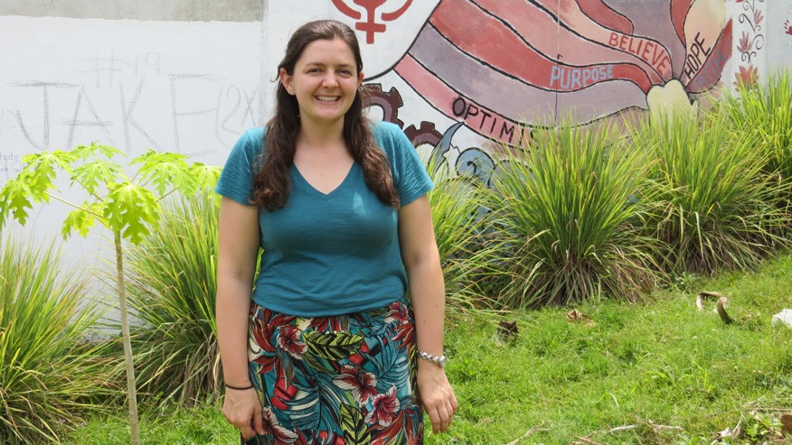 Here I am pictured in front of the tall walls of My Refuge House. I liked to look at this wall as I walked around the shelter because personally, it reminded me of why I have chosen a career in the social work field. The more and more time that I spent with the girls at My Refuge House, these are the things that I wish for them: optimism, purpose, belief, and hope.